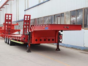 3 Axles Lowboy Trailer 60 80 100 Tons Lowbed Low Bed Semi Trailer
